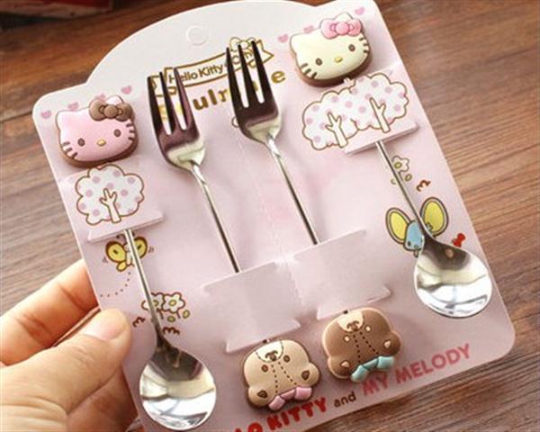 可爱凯蒂猫hello kitty 双子星 美乐蒂不锈钢咖啡勺/叉 4件套
